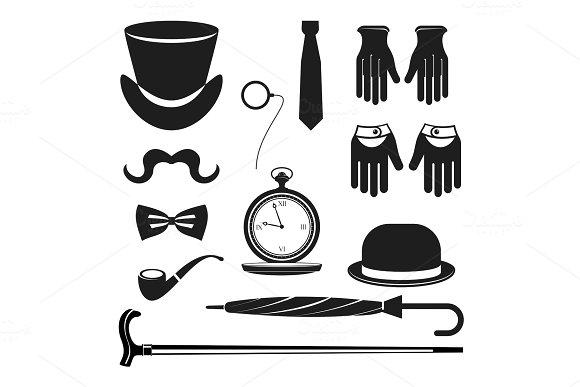 gentleman accessories icons set