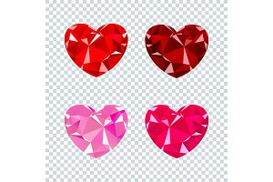 heart ruby set