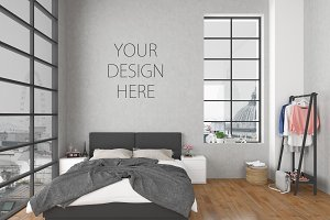 Bedroom mockup - blank wall mock up