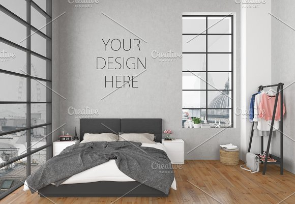 Bedroom mockup - blank wall-Graphicriver中文最全的素材分享平台