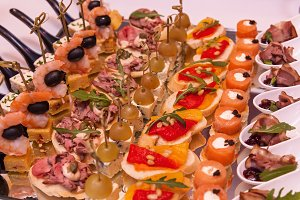 Delicious food catering. Cocktail Reception