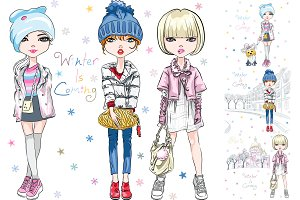 Vector SET fashion girl in winter clothes