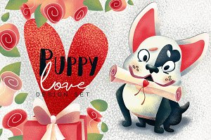 Puppy love. Valentine's Day clipart