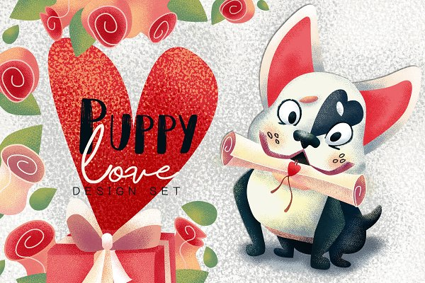 Puppy love. Valentine's Day clipart…