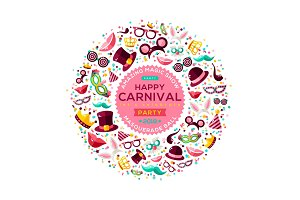 Carnival Concept Banner with Icons