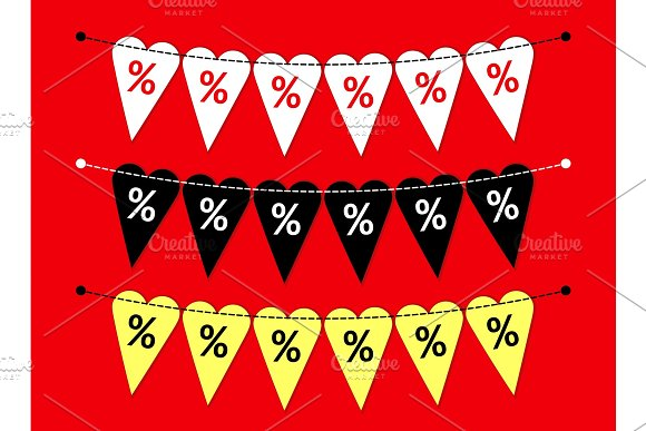 Eye catching set of heart shaped Valentines Day SALE bunting flags as different bright garlands with percent symbols