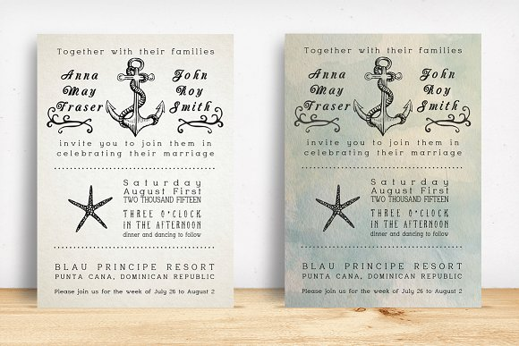 Beach Wedding Invitation Pack Invitations