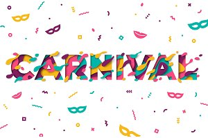 Carnival greeting card with typography design