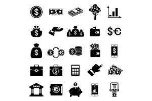 money related black icons set
