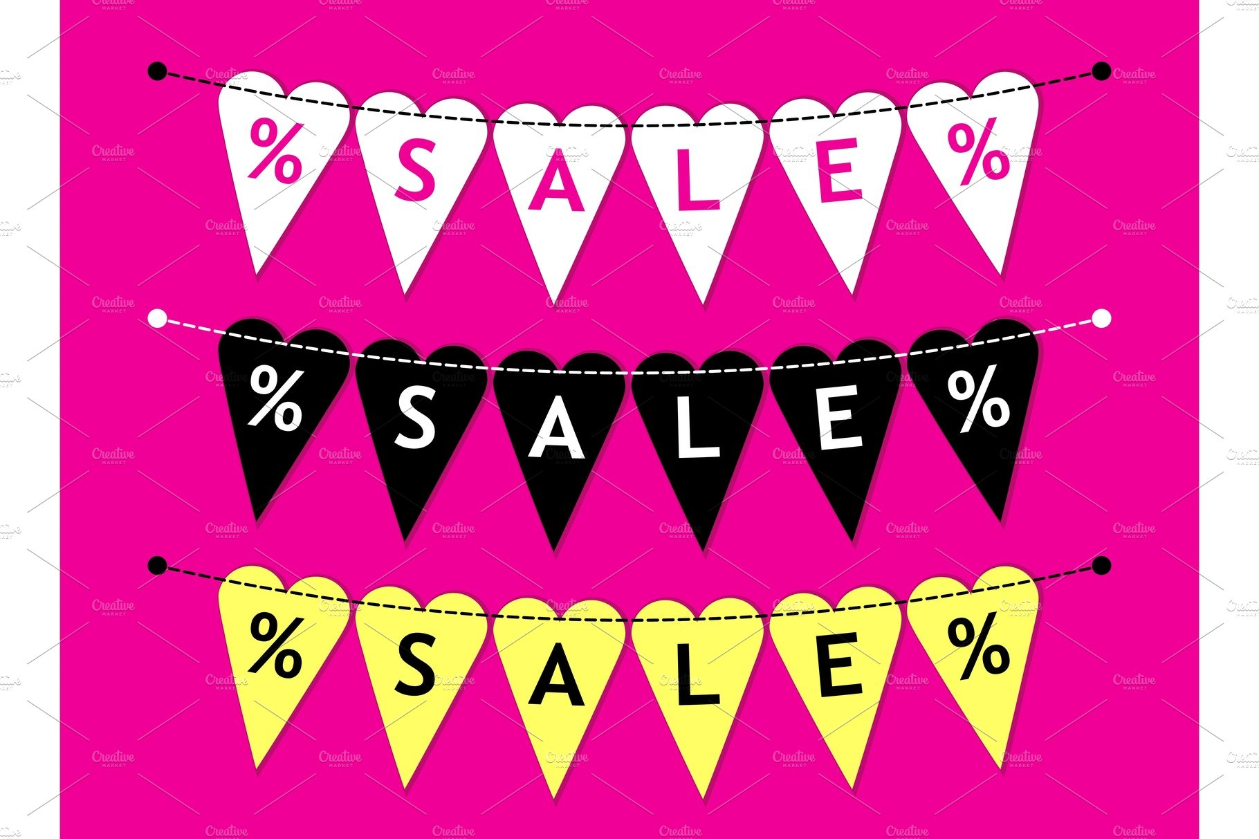 Eye Catching Set Of Heart Shaped Valentines Day Sale Bunting Flags