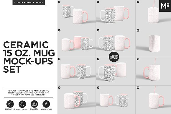 Ceramic 15 Oz. Mug Mock-ups Set