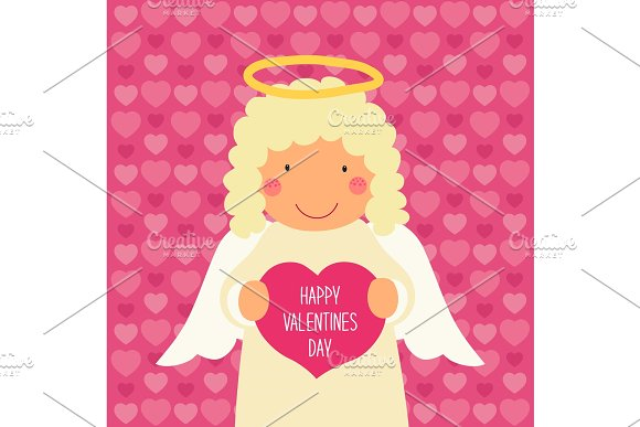 Cute Valentines Day card with hand drawn cartoon character of angel holding heart