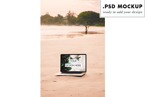 Macbook pro mockup at the beach