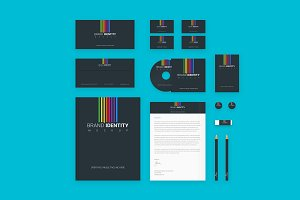 Branding Identity Set: Colored Lines