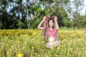 girl in marigold flowers field