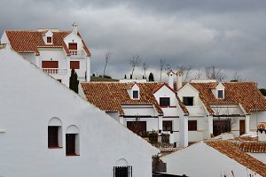 Wwhite houses with clay tiles