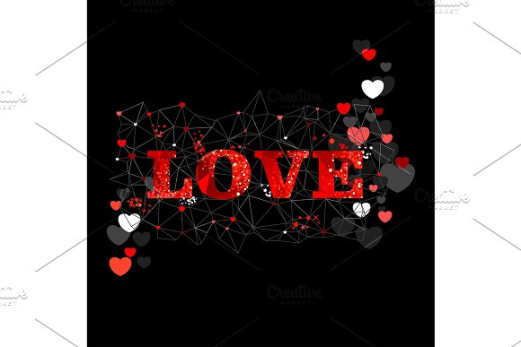 Love Concept Text Red Black