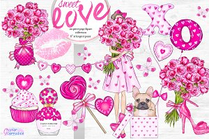 Sweet love clipart collection