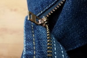 zipper and seams on jeans