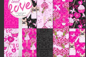 Sweet love seamless pattern set