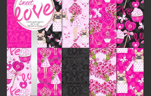 Sweet love seamless pattern set-Graphicriver中文最全的素材分享平台
