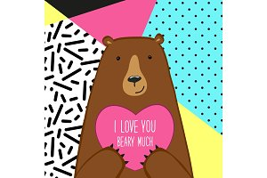 Cute Valentine's Day card with Bear in 80s style