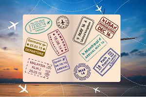 Passport Stamps & Travel Visa Signs