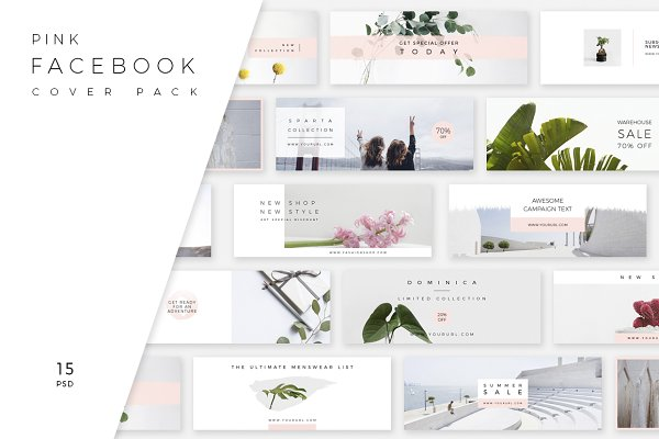 Facebook Templates: Swiss_cube - Pink Facebook Cover Pack