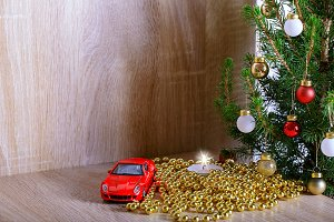 candle and car as gift, christmas