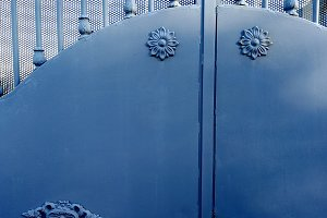Metal gate with ornaments