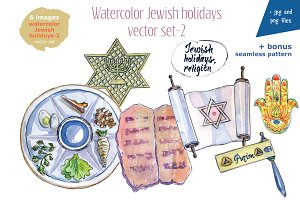 Watercolor Jewish holidays-2