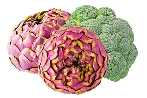 broccoli and artichokes isolated