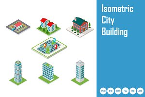 Isometric city buildings
