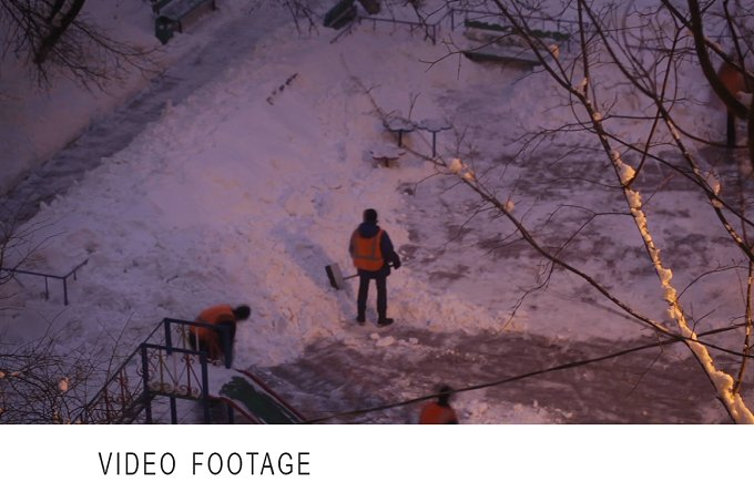 Street cleaners. Time lapse. - People