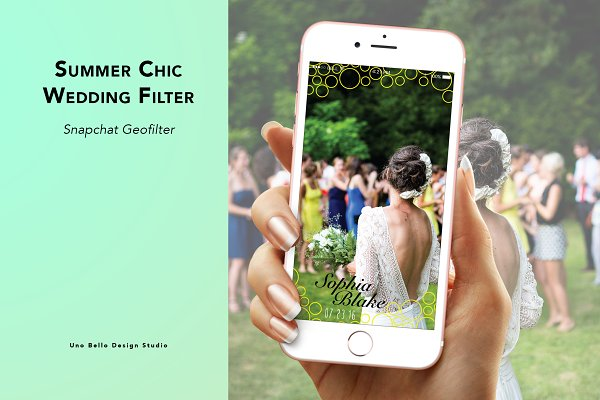 Snapchat Templates: Uno Bello Design Studio - Summer Chic Wedding Geofilter