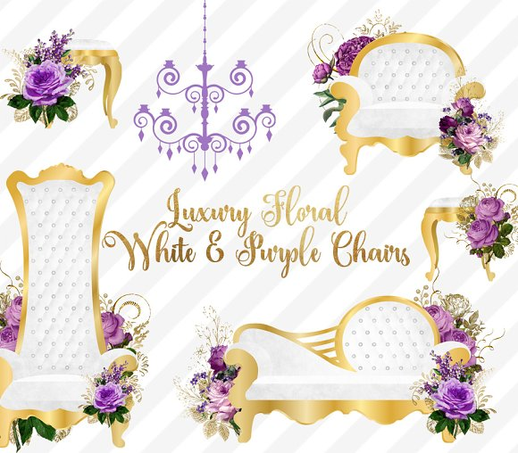 Luxury Floral White & Purple Chairs