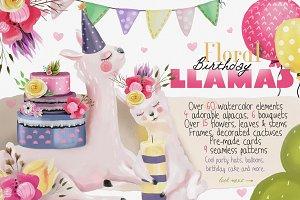 Floral Birthday Llamas