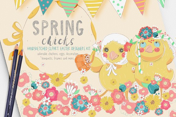 Spring Chicks Easter Clipart