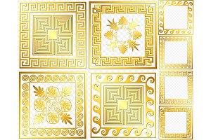 SET Golden square Greek ornament