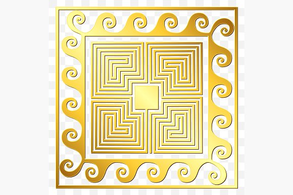 SET Golden square Greek ornament in Patterns - product preview 2