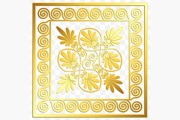SET Golden square Greek ornament in Patterns - product preview 4