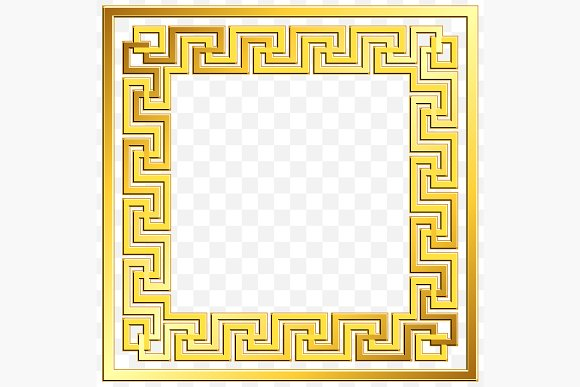 SET Golden square Greek ornament in Patterns - product preview 7