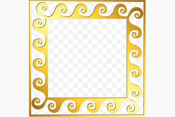 SET Golden square Greek ornament in Patterns - product preview 8