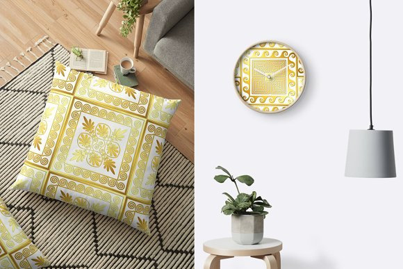 SET Golden square Greek ornament in Patterns - product preview 10