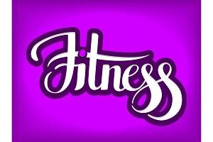 Fitness emblem hand lettering vector illustration