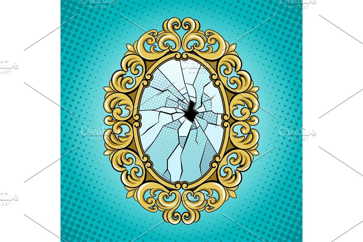 Broken mirror pop art vector illustration