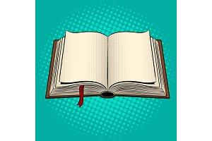Open book pop art vector illustration