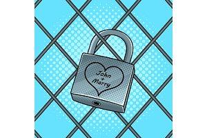 Padlock with heart pop art vector illustration
