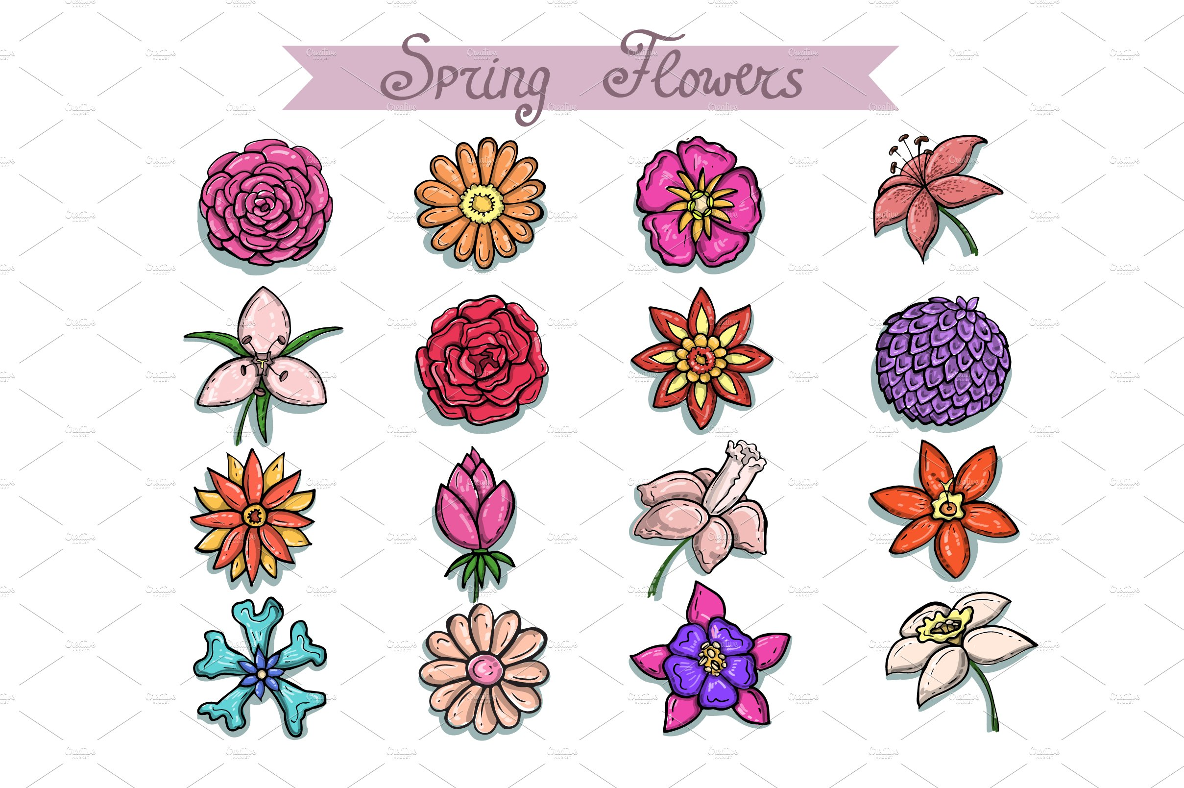 Set With Hand Drawn Spring Flowers Objects Creative Market
