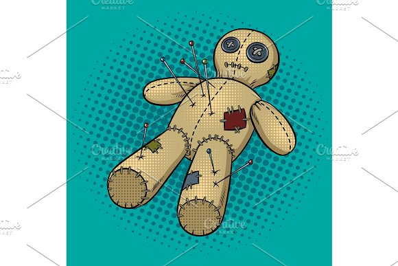 Voodoo doll pop art vector illustration